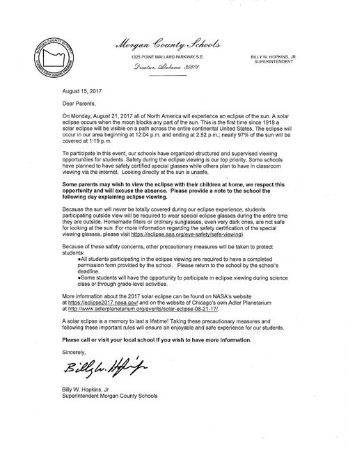 Letter from Superintendent Hopkins